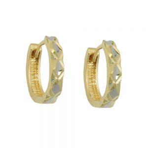Boucles d oreilles creoles bicolores en or 9 carats 431440xx