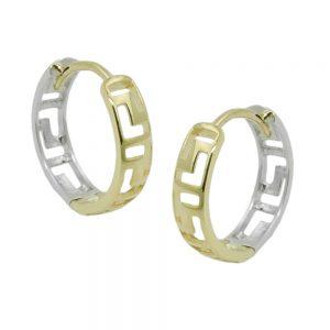 Boucles d oreilles creoles bicolores en or 9 carats 431442xx