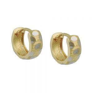 Boucles d oreilles creoles bicolores en or 9 carats 431445xx