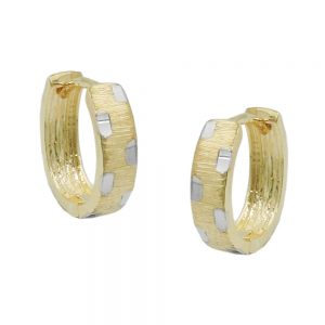 Boucles d oreilles creoles bicolores en or 9 carats 431448xx