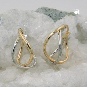 Boucles d oreilles creoles bicolores en or 9 carats Krossin bijoux or 431408x