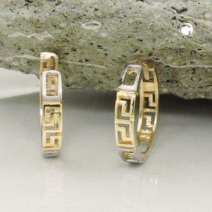 Boucles d oreilles creoles bicolores en or 9 carats Krossin bijoux or 431439x