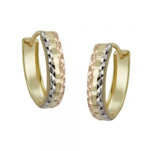 Boucles d oreilles creoles diamantees or 9 carats 431062xx