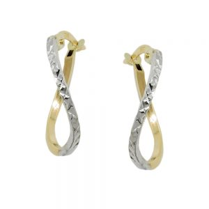 Boucles d oreilles creoles diamantees or 9 carats 431435xx