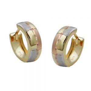 Boucles d oreilles creoles taille diamant tricolore 9 carats 431055xx
