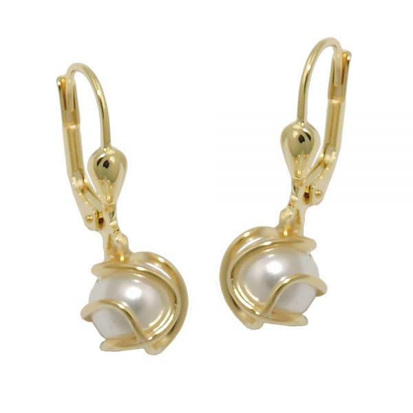 Boucles d oreilles en plastique cire blanc perle 8k or 431378xx