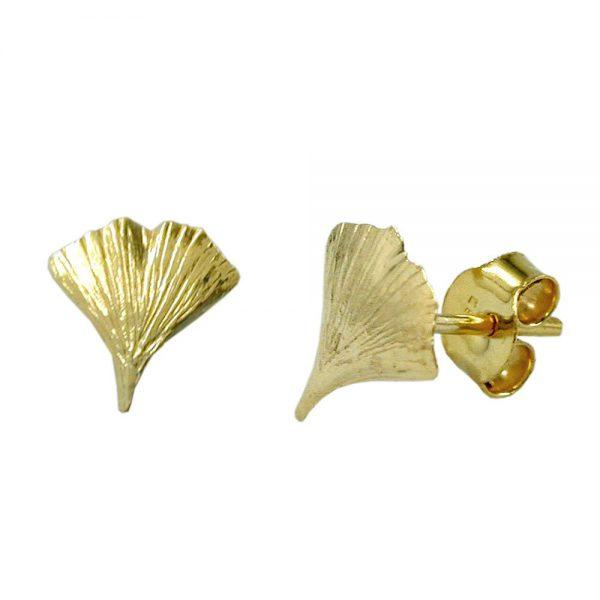 Boucles d oreilles feuille de ginkgo 9k or 431489xx