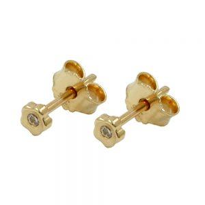 Boucles d oreilles fleur zircon cubique or 9 carats 430610xx
