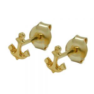 Boucles d oreilles goujons ancre 9k or 430606xx