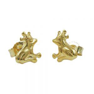 Boucles d oreilles grenouille avec couronne en or 9 carats 430539xx
