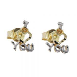 Boucles d oreilles je t aime bicolore en or 9 carats 430716xx
