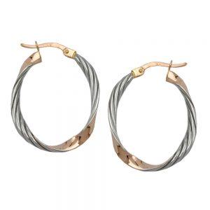 Boucles d oreilles ovales torsadees 9k rouge or 430356xx