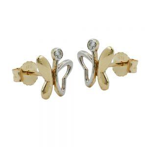 Boucles d oreilles papillon deux tons zircon 9k or 431011xx