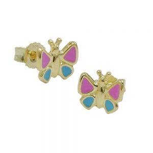 Boucles d oreilles papillon rose bleu 9k or 430458xx