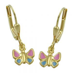 Boucles d oreilles papillons rose bleu 9k or 430805xx