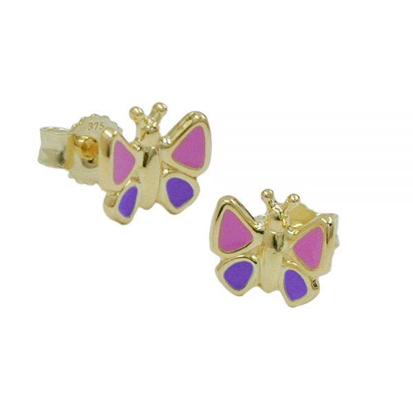 Boucles d oreilles papillons rose bleu 9k or 430892xx