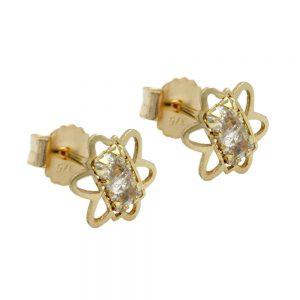 Boucles d oreilles pendantes 6mm Zircon fleurs 9k gold 431135xx