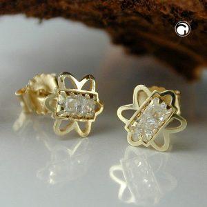 Boucles d oreilles pendantes 6mm Zircon fleurs 9k gold Krossin bijoux or 431135x