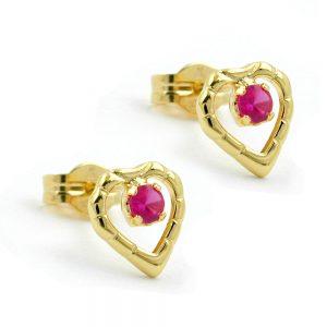 Boucles d oreilles pendantes coeur avec zircon 8k or 431159xx