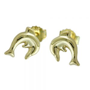 Boucles d oreilles pendantes dauphin en or 9 carats 430884xx