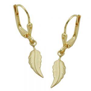 Boucles d oreilles pendantes feuille mat finition or 8k 431081xx