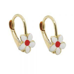 Boucles d oreilles pendantes fleur blanc or 9 carats 431420xx