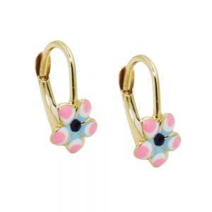 Boucles d oreilles pendantes fleur rose or 9 carats 431419xx