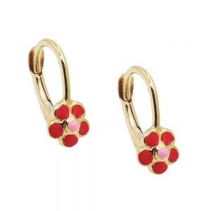 Boucles d oreilles pendantes fleur rouge or 9 carats 431415xx