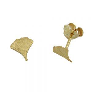 Boucles d oreilles pendantes ginkgo feuille 7mm 9k or 430060xx