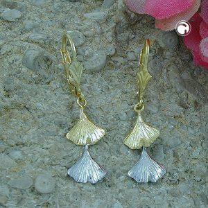 Boucles d oreilles pendantes ginkgo feuille 9k gold Krossin bijoux or 430430x