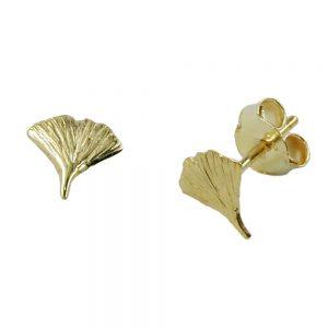 Boucles d oreilles pendantes ginkgo feuille 9k or 430002xx