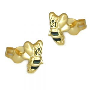 Boucles d oreilles pendantes miel abeille or 9 carats 431148xx