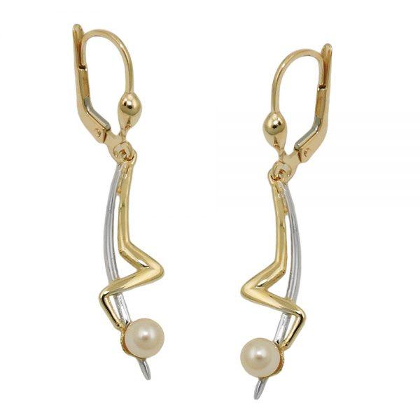 Boucles d oreilles pendantes perle 9k or 431393xx