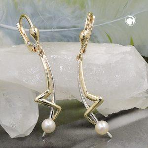 Boucles d oreilles pendantes perle 9k or Krossin bijoux or 431393x