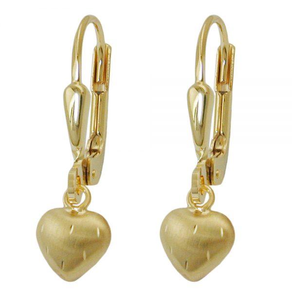 Boucles d oreilles pendantes petit coeur or 8 carats 431157xx