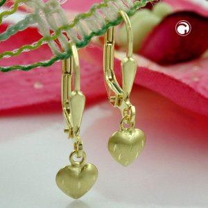 Boucles d oreilles pendantes petit coeur or 8 carats Krossin bijoux or 431157x