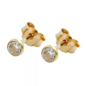 Boucles d oreilles pendantes petites zircons cubiques en or 9 carats 430210xx