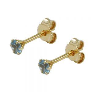 Boucles d oreilles pendantes synthetiques aigue marine 3mm or 9 carats 430059xx