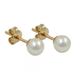 Boucles d oreilles perle 5mm 9k or 430573xx