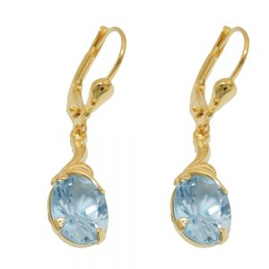 Boucles d oreilles synthetiques aigue marine 8k or 431366xx