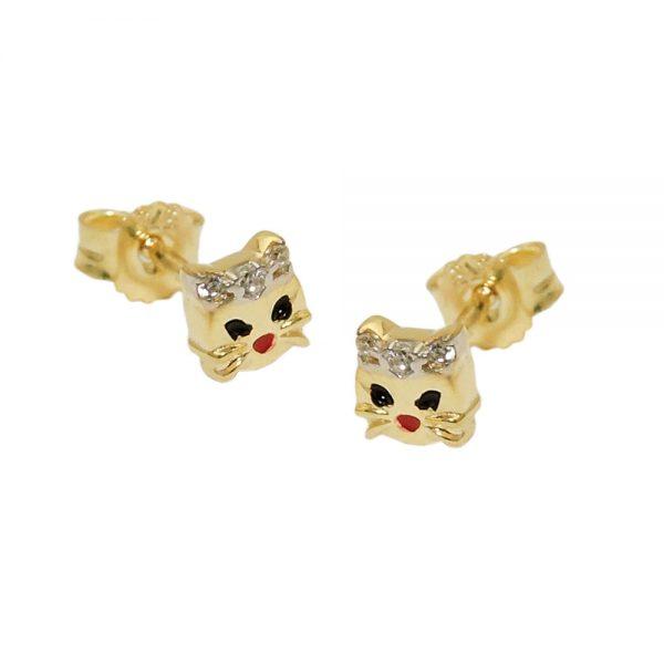 Boucles d oreilles tete de chat bicolore en or 9 carats 431467xx