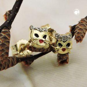 Boucles d oreilles tete de chat bicolore en or 9 carats Krossin bijoux or 431467x