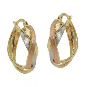 Boucles d oreilles  tricolore en or 9 carats 431429xx