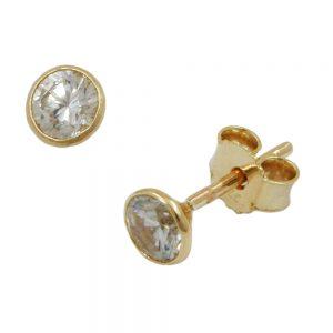 Boucles d oreilles zircon 4mm 9k or 430565xx