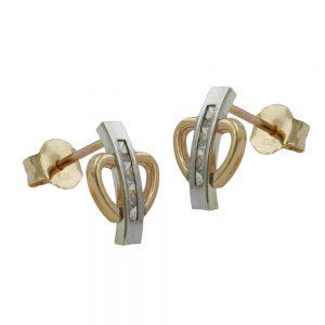 Boucles d oreilles zircons bicolores en or 9 carats 431003xx