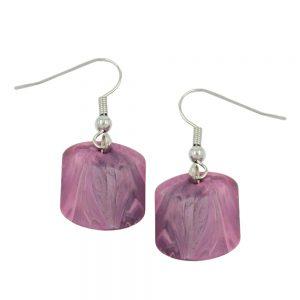 Boucles doreilles crochet bretelles perle rose marbree 02529xx