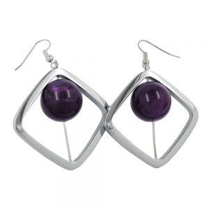 Boucles doreilles crochet carre couleur argent avec perle violet 02394xx