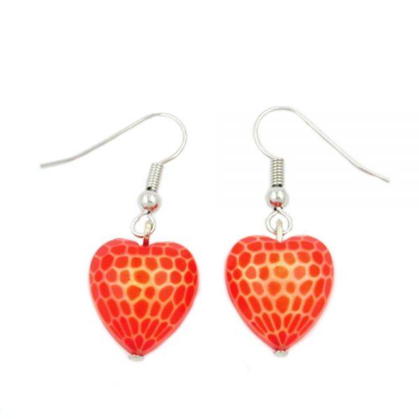 Boucles doreilles crochet coeur orange rouge 00565xx