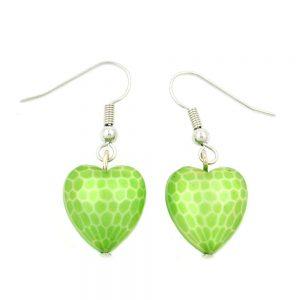 Boucles doreilles crochet coeur vert 00563xx