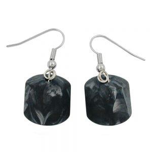 Boucles doreilles crochet gris noir perles marbrees 00067xx